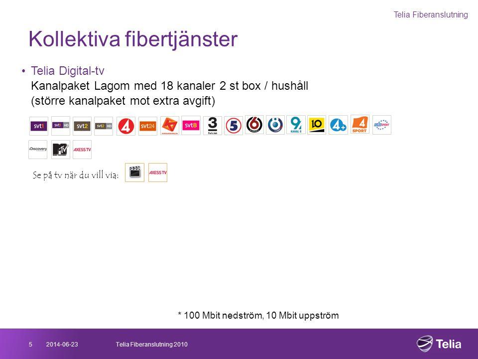 Kollektiva fibertjänster Telia Fiberanslutning 2014-06-235Telia Fiberanslutning 2010 •Telia Digital-tv Kanalpaket Lagom med 18 kanaler 2 st box / hush
