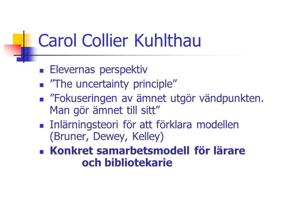 """Carol Collier Kuhlthau  Elevernas perspektiv  """"The uncertainty principle""""  """"Fokuseringen av ämnet utgör vändpunkten. Man gör ämnet till sitt""""  Inl"""