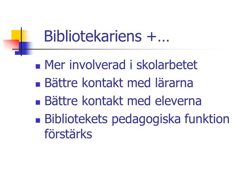 Bibliotekariens +…  Mer involverad i skolarbetet  Bättre kontakt med lärarna  Bättre kontakt med eleverna  Bibliotekets pedagogiska funktion först
