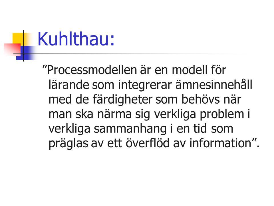 """Kuhlthau: """"Processmodellen är en modell för lärande som integrerar ämnesinnehåll med de färdigheter som behövs när man ska närma sig verkliga problem"""
