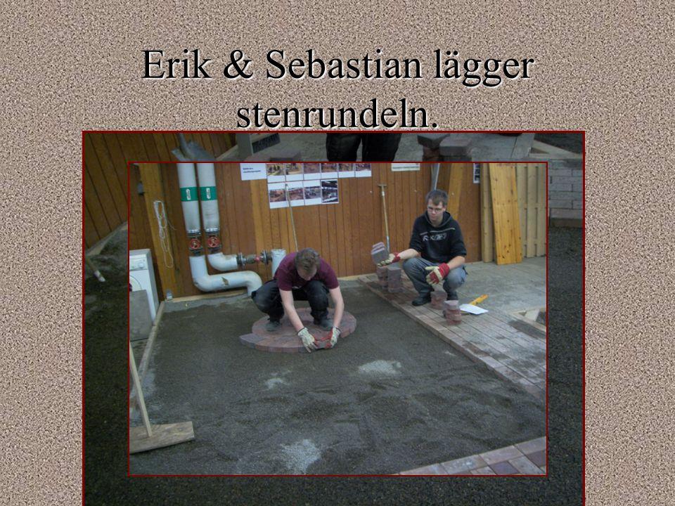 Erik & Sebastian lägger stenrundeln.