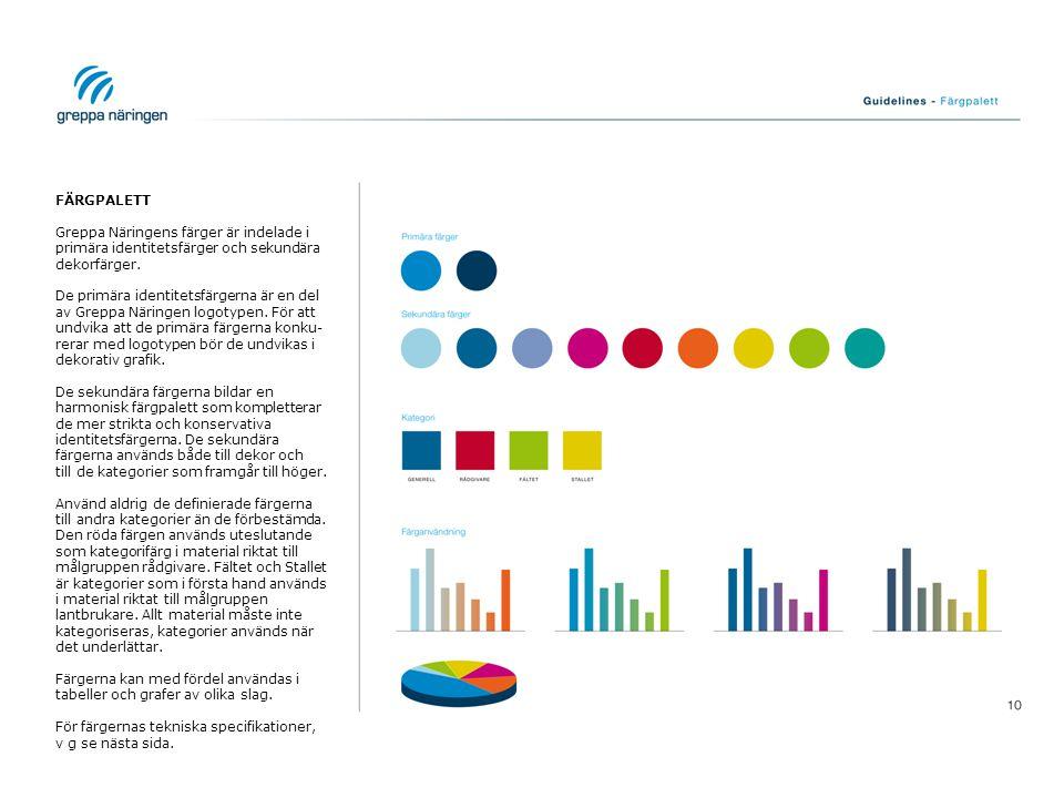 FÄRGPALETT Greppa Näringens färger är indelade i primära identitetsfärger och sekundära dekorfärger.