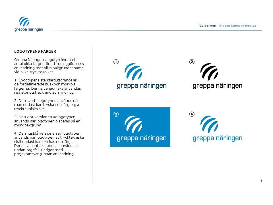 LOGOTYPENS FÄRGER Greppa Näringens logotyp finns i ett antal olika färger för att möjliggöra dess användning mot olika bakgrunder samt vid olika tryck