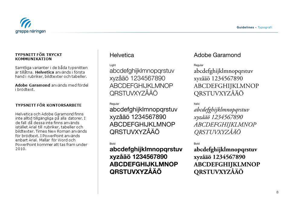 TYPSNITT FÖR TRYCKT KOMMUNIKATION Samtliga varianter i de båda typsnitten är tillåtna. Helvetica används i första hand i rubriker, bildtexter och tabe