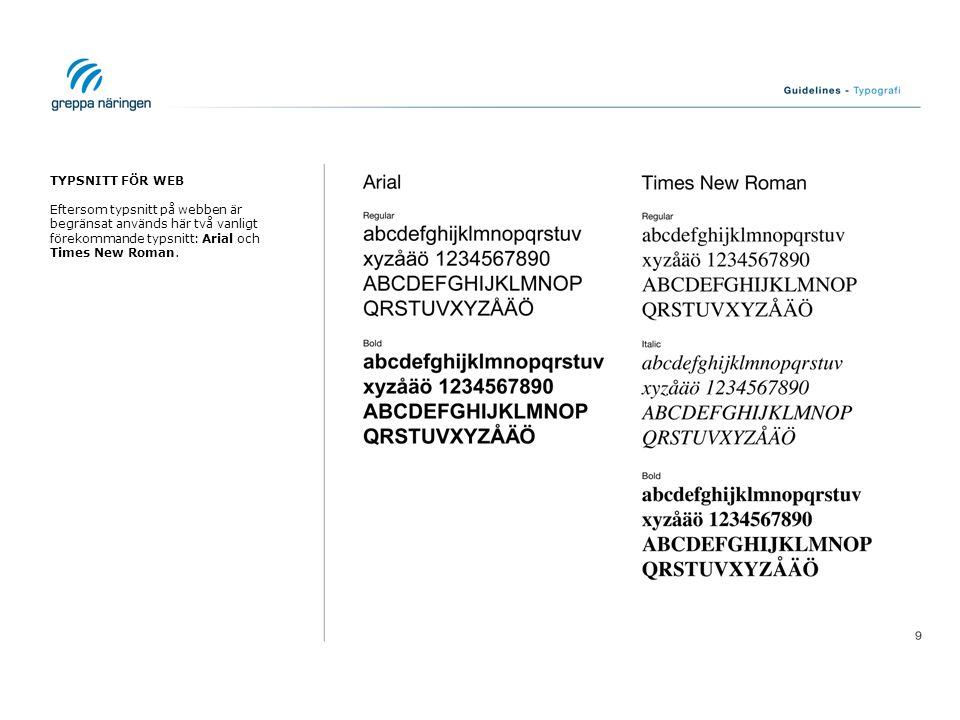 TYPSNITT FÖR WEB Eftersom typsnitt på webben är begränsat används här två vanligt förekommande typsnitt: Arial och Times New Roman.