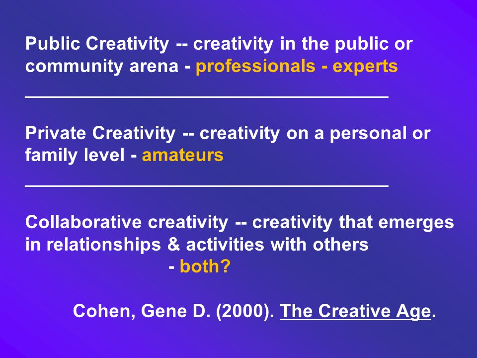 Public Creativity -- creativity in the public or community arena - professionals - experts ___________________________________ Private Creativity -- c