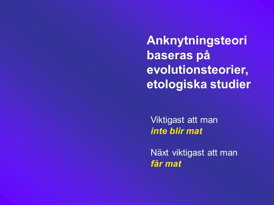 Anknytningsteori baseras på evolutionsteorier, etologiska studier Viktigast att man inte blir mat Näxt viktigast att man får mat