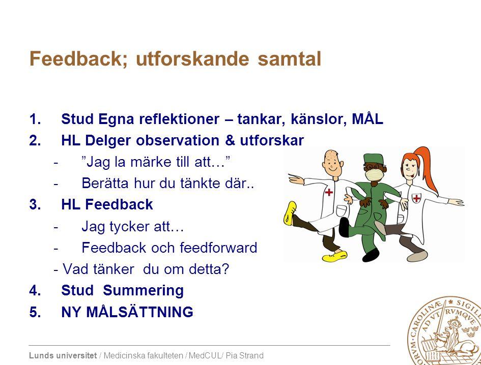 Lunds universitet / Medicinska fakulteten / MedCUL/ Pia Strand Feedback – på språng (se även one-minute preceptor model) 1.Stud: Vad fungerade bra och varför 2.HL: Vad fungerade bra & varför 3.Stud: Vad kan utvecklas och HUR 4.HL: Vad kan utvecklas och HUR 5.Stud: Summerar 6.NY MÅLSÄTTNING