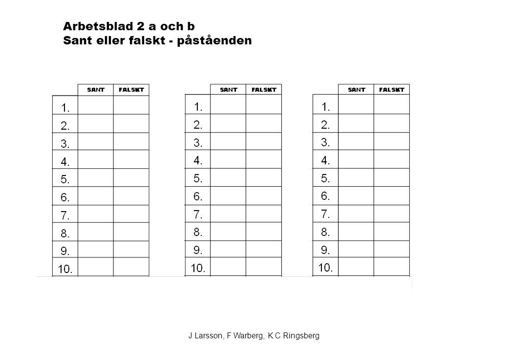 Arbetsblad 2 a och b Sant eller falskt - påståenden J Larsson, F Warberg, K C Ringsberg