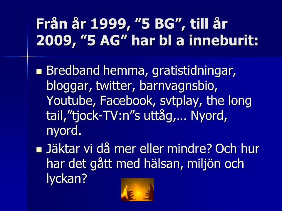 Från år 1999, 5 BG , till år 2009, 5 AG har bl a inneburit:  Bredband hemma, gratistidningar, bloggar, twitter, barnvagnsbio, Youtube, Facebook, svtplay, the long tail, tjock-TV:n s uttåg,… Nyord, nyord.
