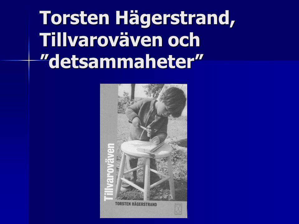 Torsten Hägerstrand, Tillvaroväven och detsammaheter