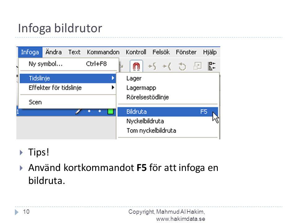 Infoga bildrutor 10  Tips!  Använd kortkommandot F5 för att infoga en bildruta. Copyright, Mahmud Al Hakim, www.hakimdata.se