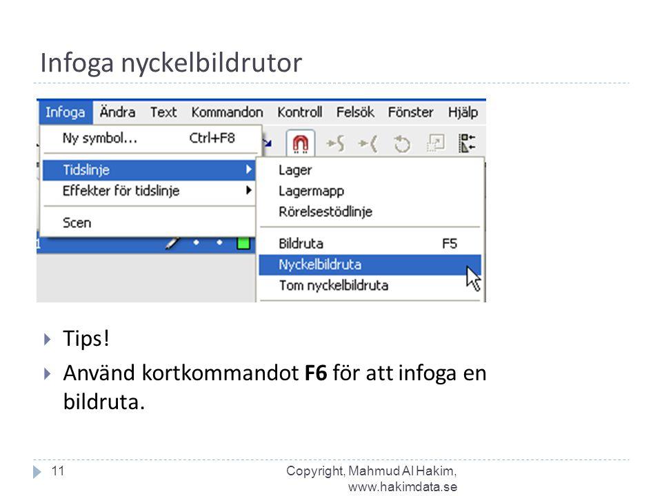 Infoga nyckelbildrutor 11  Tips!  Använd kortkommandot F6 för att infoga en bildruta. Copyright, Mahmud Al Hakim, www.hakimdata.se