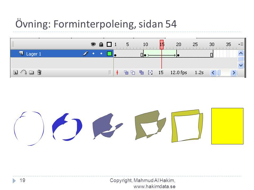 Övning: Forminterpoleing, sidan 54 19Copyright, Mahmud Al Hakim, www.hakimdata.se