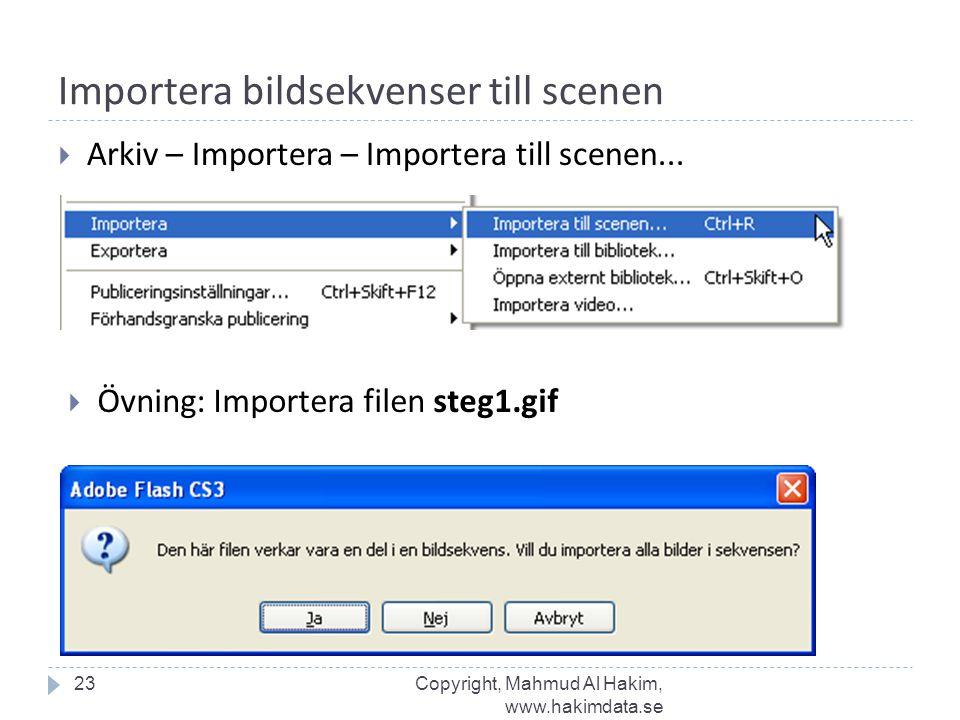 Importera bildsekvenser till scenen  Arkiv – Importera – Importera till scenen... 23  Övning: Importera filen steg1.gif Copyright, Mahmud Al Hakim,