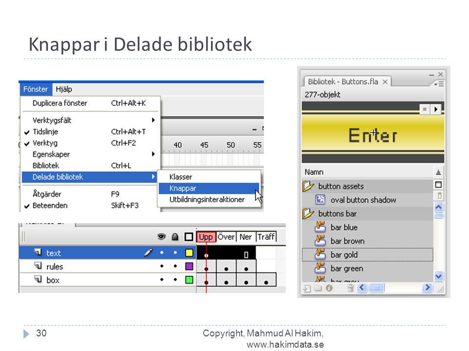 Knappar i Delade bibliotek 30Copyright, Mahmud Al Hakim, www.hakimdata.se