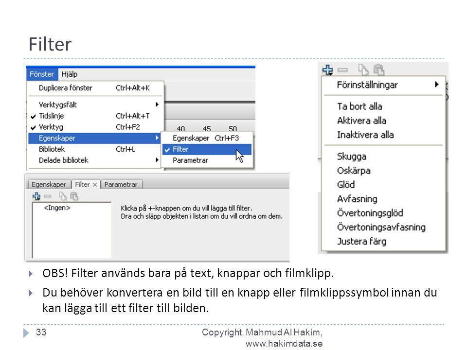 Filter  OBS! Filter används bara på text, knappar och filmklipp.  Du behöver konvertera en bild till en knapp eller filmklippssymbol innan du kan lä