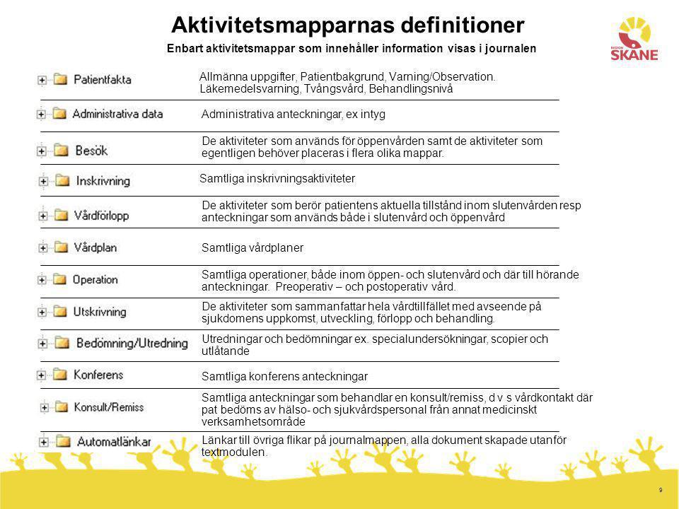 9 Allmänna uppgifter, Patientbakgrund, Varning/Observation. Läkemedelsvarning, Tvångsvård, Behandlingsnivå Administrativa anteckningar, ex intyg De ak
