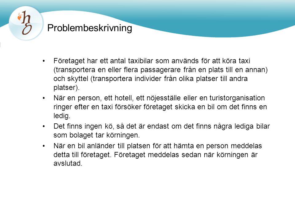 Problembeskrivning •Företaget har ett antal taxibilar som används för att köra taxi (transportera en eller flera passagerare från en plats till en annan) och skyttel (transportera individer från olika platser till andra platser).