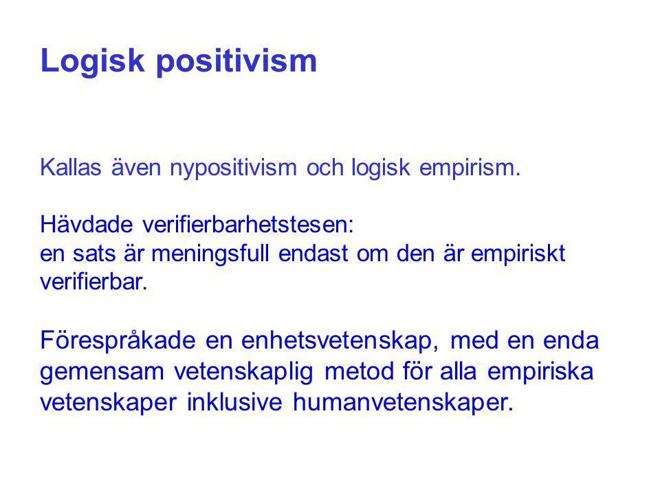 Logisk positivism Kallas även nypositivism och logisk empirism. Hävdade verifierbarhetstesen: en sats är meningsfull endast om den är empiriskt verifi