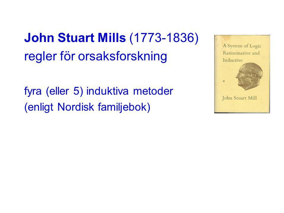 John Stuart Mills (1773-1836) regler för orsaksforskning fyra (eller 5) induktiva metoder (enligt Nordisk familjebok)