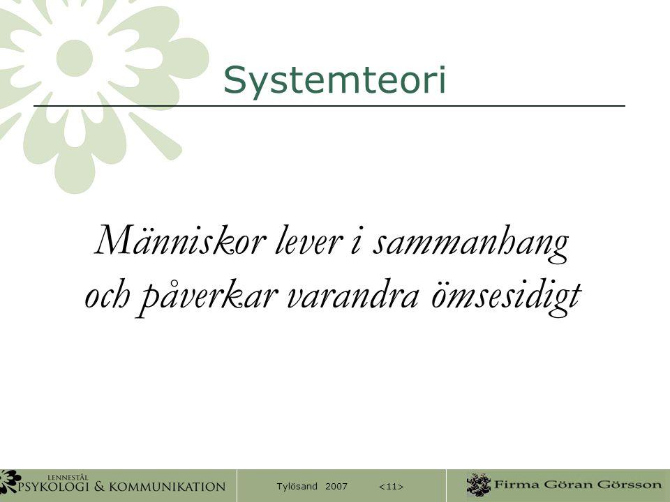 Tylösand 2007 Systemteori Människor lever i sammanhang och påverkar varandra ömsesidigt