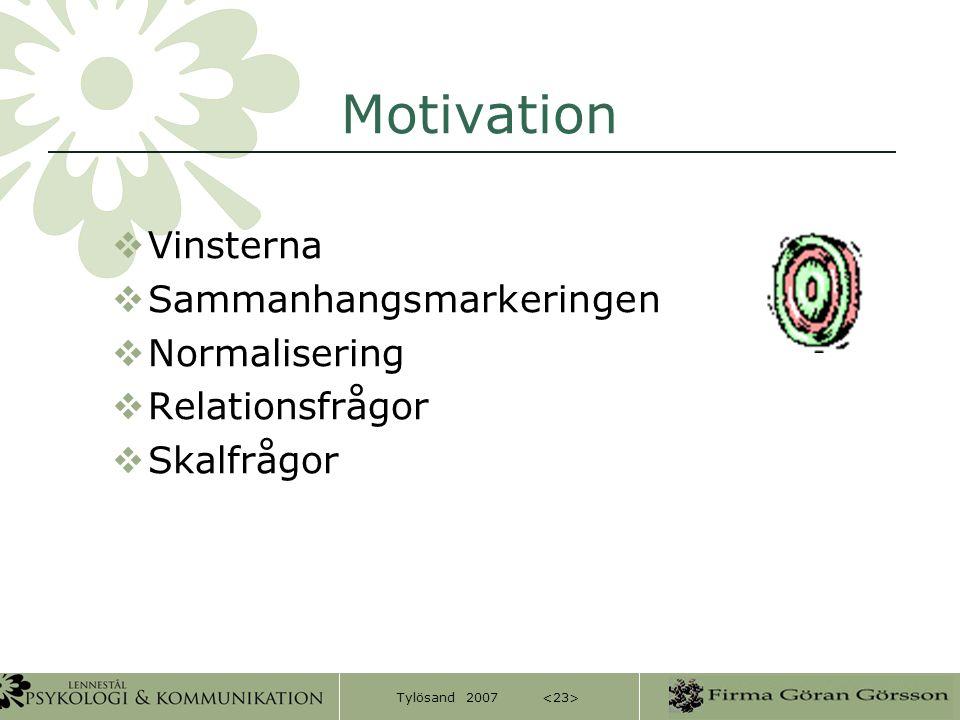 Tylösand 2007 Motivation  Vinsterna  Sammanhangsmarkeringen  Normalisering  Relationsfrågor  Skalfrågor