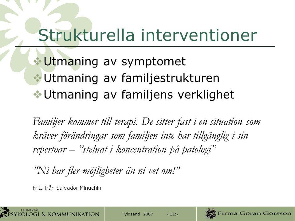 Tylösand 2007 Strukturella interventioner  Utmaning av symptomet  Utmaning av familjestrukturen  Utmaning av familjens verklighet Familjer kommer t