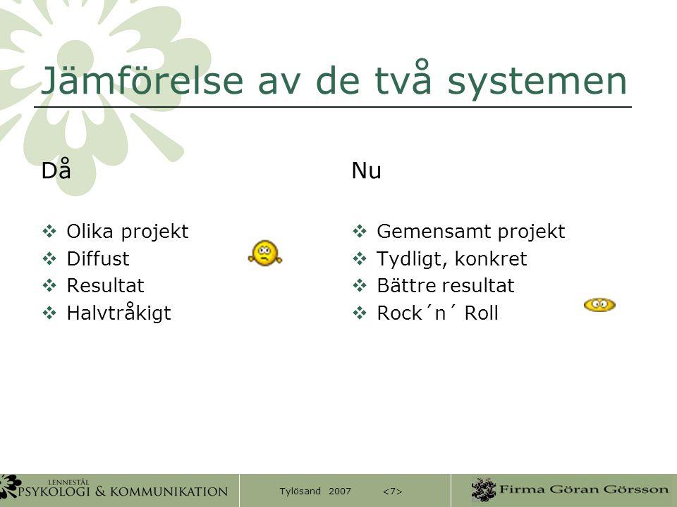 Tylösand 2007 Jämförelse av de två systemen Då  Olika projekt  Diffust  Resultat  Halvtråkigt Nu  Gemensamt projekt  Tydligt, konkret  Bättre r