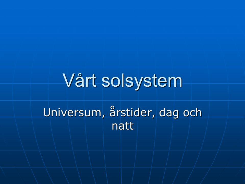 Vårt solsystem Universum, årstider, dag och natt