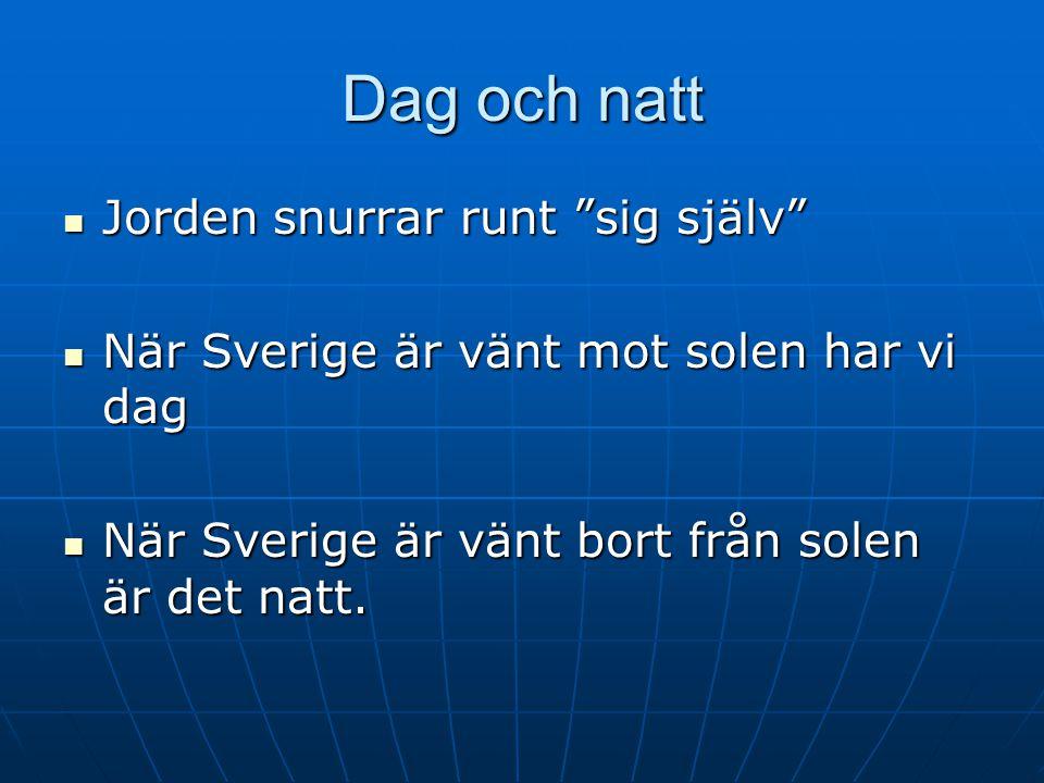 """Dag och natt  Jorden snurrar runt """"sig själv""""  När Sverige är vänt mot solen har vi dag  När Sverige är vänt bort från solen är det natt."""