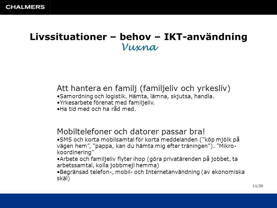 Livssituationer – behov – IKT-användning Vuxna Att hantera en familj (familjeliv och yrkesliv) •Samordning och logistik.