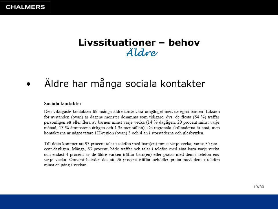 Livssituationer – behov Äldre •Äldre har många sociala kontakter 19/30
