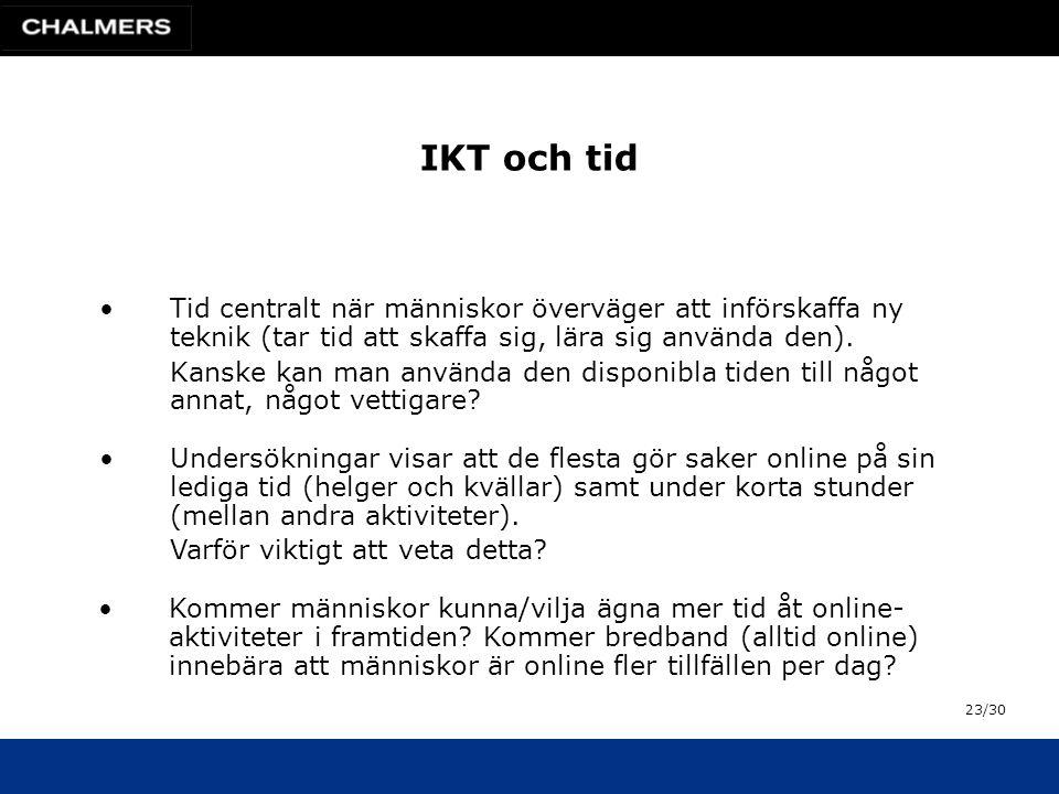IKT och tid •Tid centralt när människor överväger att införskaffa ny teknik (tar tid att skaffa sig, lära sig använda den).