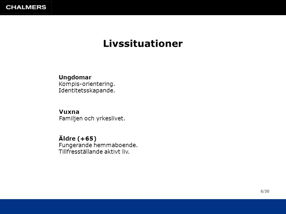 Livssituationer Ungdomar Kompis-orientering. Identitetsskapande.