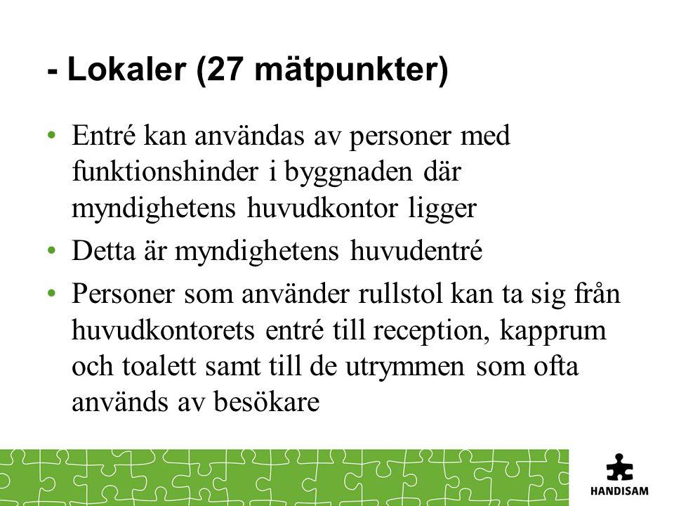 - Lokaler (27 mätpunkter) •Entré kan användas av personer med funktionshinder i byggnaden där myndighetens huvudkontor ligger •Detta är myndighetens h