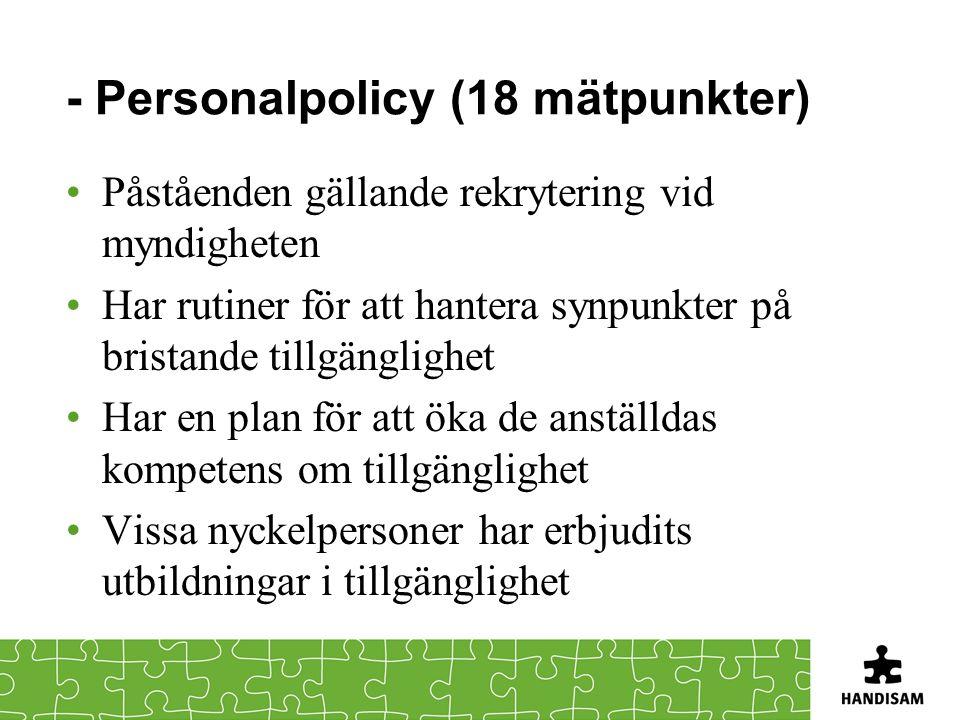 - Personalpolicy (18 mätpunkter) •Påståenden gällande rekrytering vid myndigheten •Har rutiner för att hantera synpunkter på bristande tillgänglighet