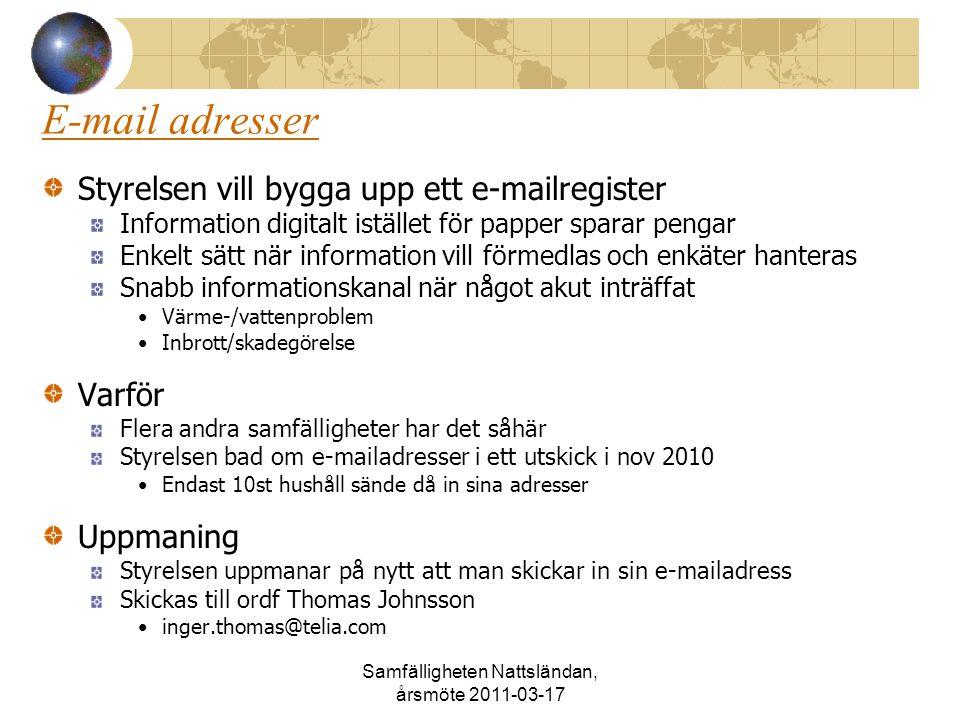 Samfälligheten Nattsländan, årsmöte 2011-03-17 E-mail adresser Styrelsen vill bygga upp ett e-mailregister Information digitalt istället för papper sp
