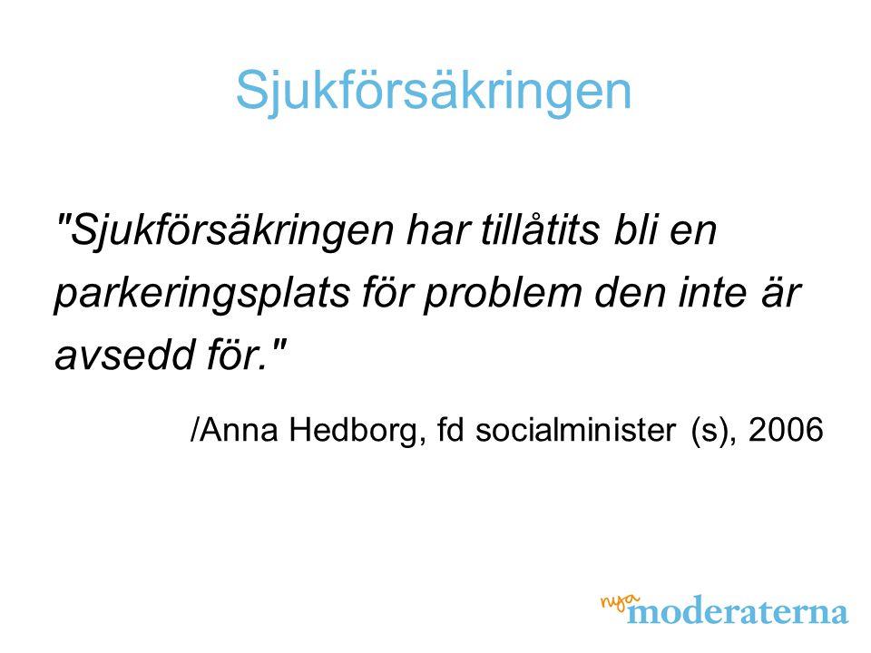 Sjukförsäkringen Sjukförsäkringen har tillåtits bli en parkeringsplats för problem den inte är avsedd för. /Anna Hedborg, fd socialminister (s), 2006