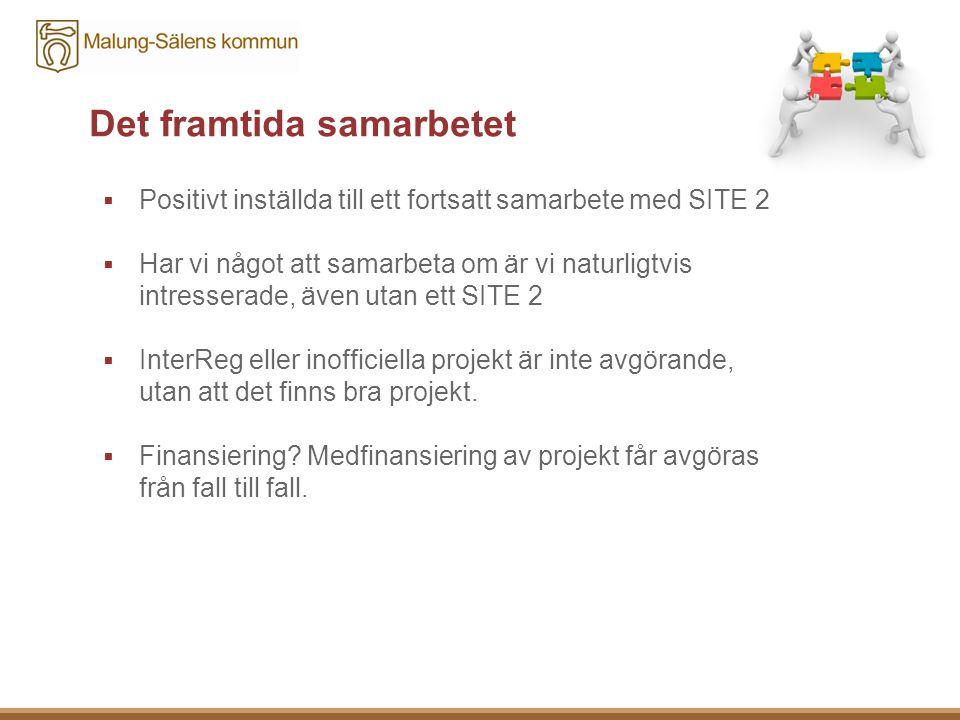 Det framtida samarbetet  Positivt inställda till ett fortsatt samarbete med SITE 2  Har vi något att samarbeta om är vi naturligtvis intresserade, även utan ett SITE 2  InterReg eller inofficiella projekt är inte avgörande, utan att det finns bra projekt.