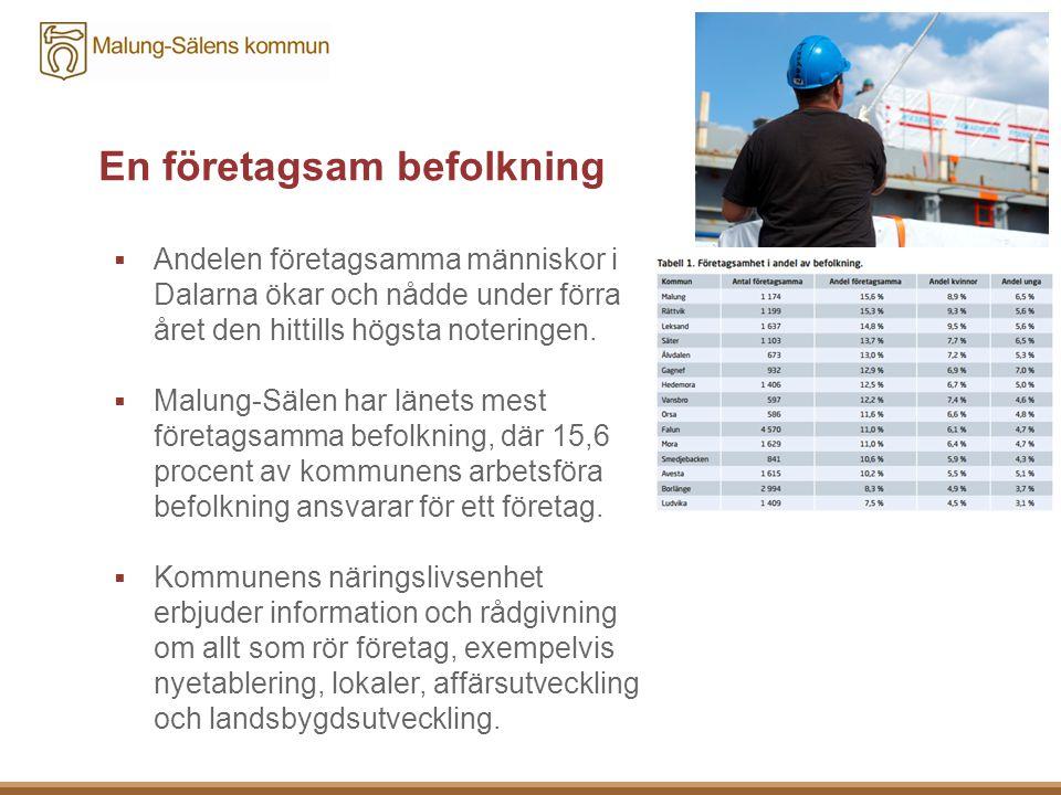 En företagsam befolkning  Andelen företagsamma människor i Dalarna ökar och nådde under förra året den hittills högsta noteringen.