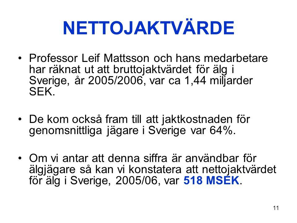 11 NETTOJAKTVÄRDE •Professor Leif Mattsson och hans medarbetare har räknat ut att bruttojaktvärdet för älg i Sverige, år 2005/2006, var ca 1,44 miljar