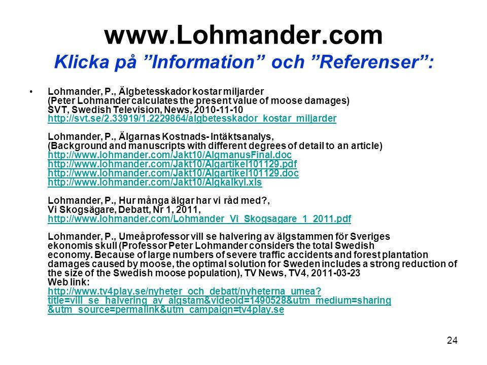 """24 www.Lohmander.com Klicka på """"Information"""" och """"Referenser"""": •Lohmander, P., Älgbetesskador kostar miljarder (Peter Lohmander calculates the present"""