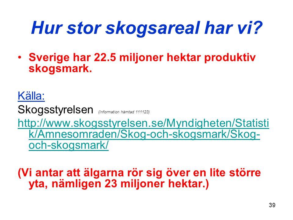 39 Hur stor skogsareal har vi? •Sverige har 22.5 miljoner hektar produktiv skogsmark. Källa: Skogsstyrelsen (Information hämtad 111123) http://www.sko