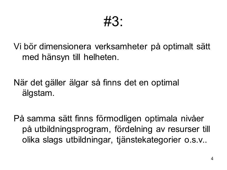 4 #3: Vi bör dimensionera verksamheter på optimalt sätt med hänsyn till helheten. När det gäller älgar så finns det en optimal älgstam. På samma sätt