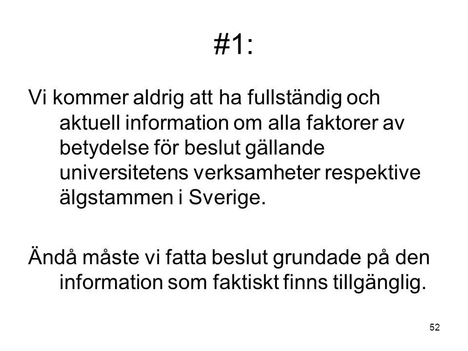 52 #1: Vi kommer aldrig att ha fullständig och aktuell information om alla faktorer av betydelse för beslut gällande universitetens verksamheter respe