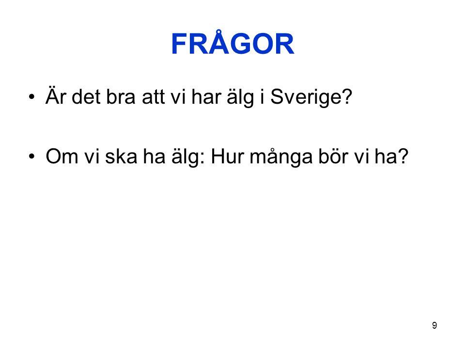 9 FRÅGOR •Är det bra att vi har älg i Sverige? •Om vi ska ha älg: Hur många bör vi ha?