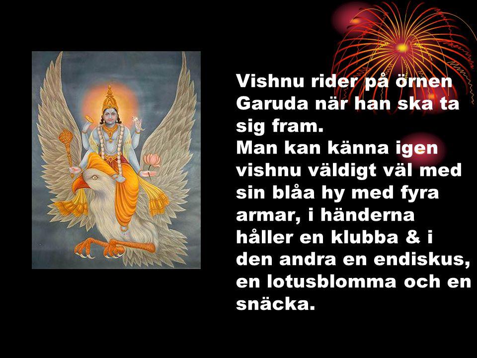 Vishnu rider på örnen Garuda när han ska ta sig fram. Man kan känna igen vishnu väldigt väl med sin blåa hy med fyra armar, i händerna håller en klubb
