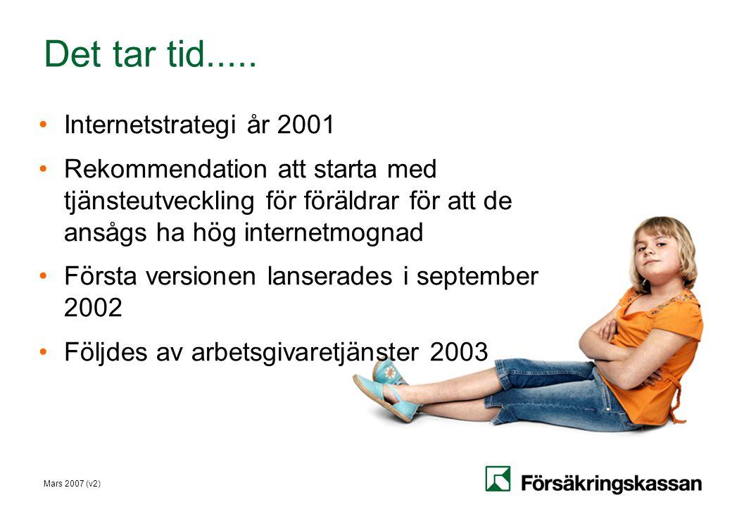 Mars 2007 (v2) Det tar tid..... •Internetstrategi år 2001 •Rekommendation att starta med tjänsteutveckling för föräldrar för att de ansågs ha hög inte