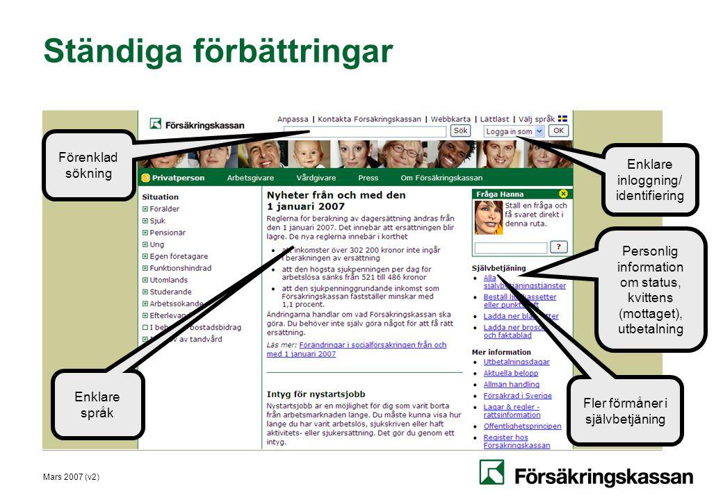 Mars 2007 (v2) Ständiga förbättringar Enklare språk Förenklad sökning Enklare inloggning/ identifiering Personlig information om status, kvittens (mot